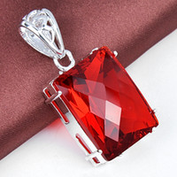 garnet 925 sterling silver red gemstone rectangle necklace p...