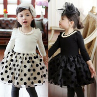 Wholesale 2014 Spring Children Girls Polka Dots Veil Long Sleeve Black White Party Dresses With Pearl Necklace Kids Clothes B2794