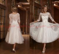 tea length wedding dress - 2015 High Quality Vintage Crew Long Sleeve Lace Cover Back Tea length White Tulle Lace Beaded Short Wedding Dresses