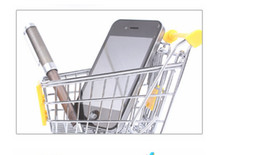Wholesale artwares Cute Cart Mobile Phone Holder Pen Holder Mini Supermarket office Handcart Shopping Utility Cart Phone Holder