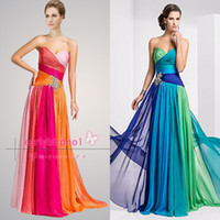 Wholesale Only Cheap Prom Dresses Sexy Hot Selling Sweetheart Colorful Ruffle Chiffon Crystals A Line Beach Evening Party Gowns TBE11159