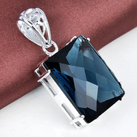 london necklace - 2015 Direct Selling Promotion Ruby Jewelry Colares Gemstone Jewelry Pendant Sterling Silver Gemstone London Blue Topaz Pendant P0859
