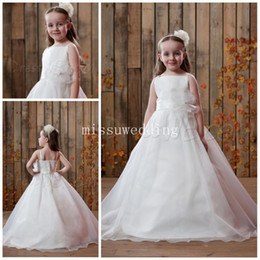 Wholesale Summer Top selling Spaghtti Straps Ball gown Brush Organza beads Backless Long flower girl dresses Plus size Pageant dress