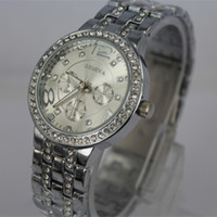 Wholesale geneva metal watch stainless steel watch fashion metal watch colors available DHL shipping for Christmas