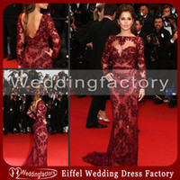 Wholesale Sexy Hot Sale Zuhair Murad Evening Gowns Cheryl Cole Mermaid Lace Appliques Tulle Backless Celebrity Dress with Long Sleeves and Bateau Neck