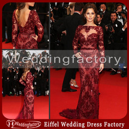 Wholesale Sexy Hot Sale Zuhair Murad Evening Gowns Cheryl Cole Mermaid Embroidery Tulle Backless Celebrity Dress with Long Sleeves and Bateau Neck