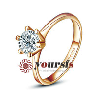 Wholesale Womans Classic jewelry k Rose Gold Plated Simulation gemstone ct Engagement Wedding Band Ring Lovers Gift R059R1