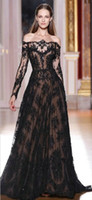 Wholesale DH24 New Discount Designer Ball Gown Long Sleeve Black Wedding Dresses Lace Bridal Wedding Gowns