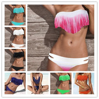 Wholesale HOT NEW arrive Summer Fashion Sexy one piece swimsuit Womens Bikini Swimwear Padded Boho Fringe Tassels Real cheap price Class Color
