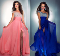 Wholesale Designer New Floor Length Sparking Beaded Coral Royal Blue Chiffon A line Evening Dresses Prom Dresses Party