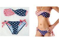 Wholesale 2014 hot new top sell set Summer Women Sexy Bikini STARS and STRIPES USA Flag BIKINI AMERICAN Swimwear