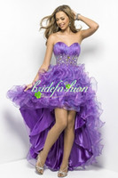 Wholesale 2014 Custom made Strapless Purple Orgnza Hi lo Cocktail Dresses Short Prom Dresses Crystal Evening Gowns
