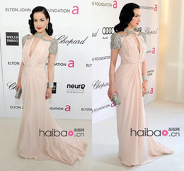 Wholesale Elegant chiffon halter Dita Von Teese style celebrity dresses chiffon cap sleeves sweep train Jenny Packham sheath evening prom gowns