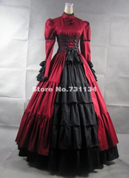 Red Long Sleeves Stand Collar Bow Satin Historical Gothic Victorian Dresses Medieval Renaissance Corset Party Dresses For Wholesale