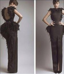 Envío gratis-vestido de noche Celebrity pluma Myriam fares correa setin primicia piso - longitud custome