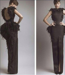 Wholesale Evening Celebrity dress with Feather Myriam fares setin scoop belt floor length custome