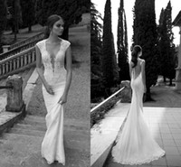 Cheap Berta Winter Wedding Dresses 2014 Collection Lace Sheer Deep V Neck Illusion Back Covered Button Mermaid Court Train Bridal Gowns ZA008
