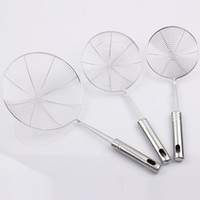 Wholesale Non magnetic stainless steel wire mesh colander drain fried Spicy colander big fan fence spoon drain surface