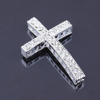 Wholesale 30PCS silver tone Crystal Rhinestones Sideways cross Connector beads making Bracelet Jewelry findings X25mm