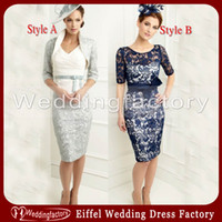 Wholesale 2014 Plus Size Mother of the Bride Groom Dress Modest John Charles Sheath Scoop Lace Cocktail Dress with Jacket