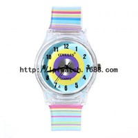 Cheap Wholesale - Plastic Watches Round Shaped Blue Watch Dial Colorful Rainbow Plastic Cement Watchband Women's and Kid's Wrist Watch