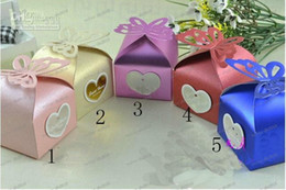 Wholesale LLFA4251 NEW color Pearl paper core butterfly candy Wedding Bridal Favors Candy Party Boxes Favor