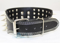 Wholesale New Styles quot wide Row Spiked Dog Leather Collars Pit bull Dog Terrier Collars P49