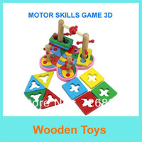 other   Free Shipping Hot sale Wooden Peg Puzzle Toys Motor Skills Game 3D Children Educational Toys Early Learning Toys