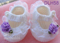 Cheap Wholesale - - hand crochet baby shower gift infants toddler newborn reborn doll baby girl or boy Mary Jane flowe
