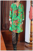 Wholesale 2014 Promotion Original Art Cotton Fibre National Style Ethnic Clothing Chinese Clothes Long Shirts V Collar Women Clothes Three Colors