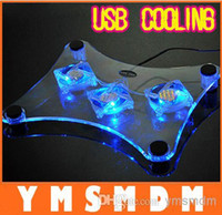 Wholesale New USB Laptop Cooler Notebook Cooling pad stand with fans and blue LED light Drop shipping