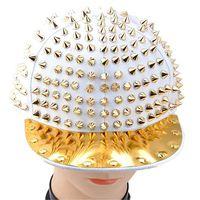 Wholesale S5Q Fashion Hedgehog Punk Hip hop Unisex Hat Golden Spikes Spiky Studded Cap Top AAABMV