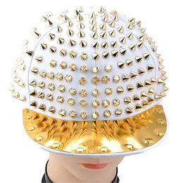 Wholesale Studded Hip Hop Hat - S5Q Fashion Hedgehog Punk Hip-hop Unisex Hat Golden Spikes Spiky Studded Cap Top AAABMV