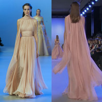 Wholesale 2014 Elie Saab New Arrival Runway Evening Dresses High Neck Ruched Champagne Chiffon Prom Dresses with Flying Cape