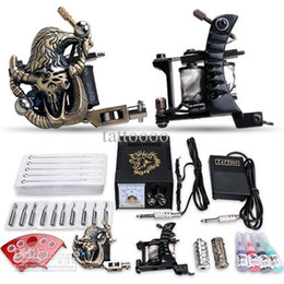 Wholesale USA Storage Beginner Gun Tattoo starter Kit Complete with Inks sets Power Supply Needle Grips tips D53