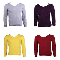 Wholesale Stylish Men Cotton Knit Sweater Casual Loose Pullover Sweater V Collar Outwear Colors Choose DSI