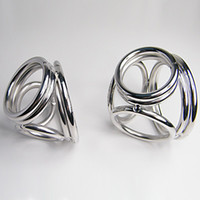 Wholesale Male Delay Toys Steel Chastity Cock Rings NEW STYLE Holes Two Size Can Chose Metal FETISH Delayed Ejaculating Ring
