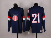 Cheap 2014 Sochi Winter Olympic Team USA #21 James Van Riemsdyk Blue American Premier Hockey Jerseys Ice Winter Man Jersey Stitched Authentic