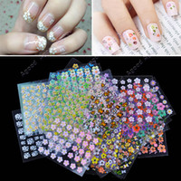 3d nail art decoration - New Sheet Mix Color flower Design D Nail Art Stickers Decals Nail Art Decoration