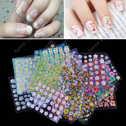 Wholesale 50 Sheet Mix Color flower Design D Nail Art Stickers Decals Nail Art Decoration
