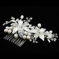 Wedding Hair Jewelry   Pearl Flower Wedding Hair Comb Silver Diamonds Alloy Hair Jewelry Bride Dress Accessories Engagement Combs 1229