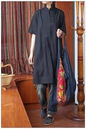 Wholesale 2014 Promotion Original Art Cotton Fibre National Style Ethnic Clothing Chinese Clothes Long Shirts Black V Collar Vintage Women Clothes