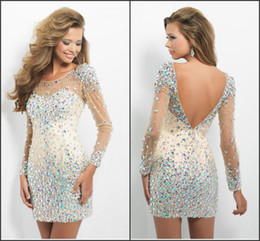 Wholesale Long Sleeves New Bling Cocktail Dresses With Scoop Crystals Beads Backless Sheath Short Hot Customed Sexy Prom Party Evening Gowns