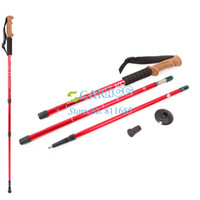 Cheap New Adjustable Red Alpenstocks 3-Step Aluminum Alloy Telescopic Trekking Walking Stick Cork Handle Bar Hiking Pole 17489