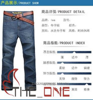 Wholesale Men s Classic Jeans Mens blue Denim Jeans Men s Long Straight Trousers new style EMS FREE TO AUS