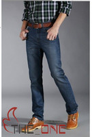 blue jeans - Men s Classic Jeans Mens blue Denim Jeans Men s Long Straight Trousers new style EMS FREE