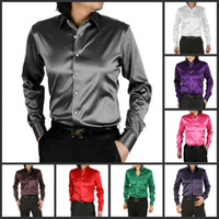 Casual Men Silk Free shipping Modern men's silk shirts long sleeve shirt collar slim shirts pure colors casual shirt 17 colors PL 0001