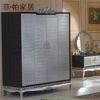 Wholesale new classical furniture silver foil hand carved solid wood wardrobe