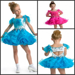 Wholesale 2014 Top Sale Beautiful Bateau Mini Blue Ball Gown Pageant Dresses For Girls With Beads Ruffles Little Girl Princess Dresses