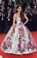 Cheap 2014 New Fashion Celebrity dresses sonam-kapoor-poses Cannes Festivel Strapless Floor length Ball gown Myriam fares Evening dress